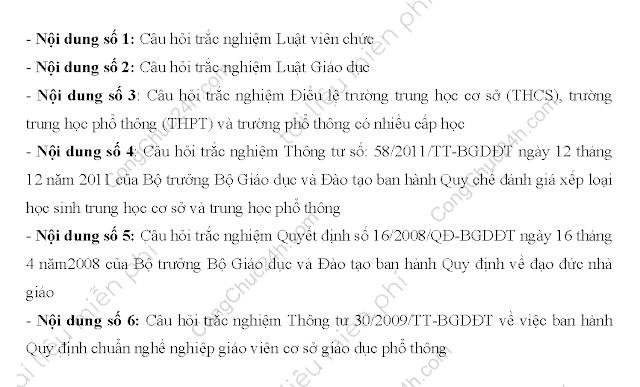 Bộ tài liệu thi viên chức giáo dục THCS-THPT có đáp án ôn thi vòng 1