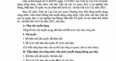 Tỉnh ủy Lào Cai thông báo tuyển công chức viên chức 2021